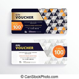 Business gift voucher template design with geometric concept. white and gold color. vector illustration