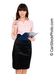 Business girl with a clipboard in his hands