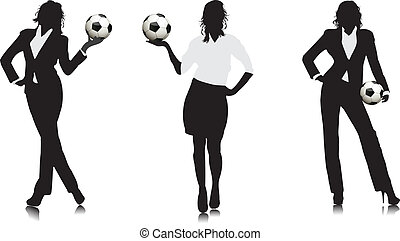 Business girl with a football