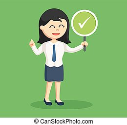business girl with checklist sign