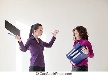 business girl with folders with documents
