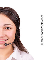 business girl working in a call center