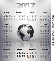 business, globe, anglaise, tache, année, mondiale, calendrier, 2017