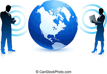 business, globe, internet, sans fil, fond, équipe