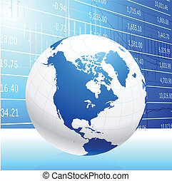 Business Globe on blue background