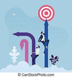 Business goal concept-businessman climbing a arrow to target