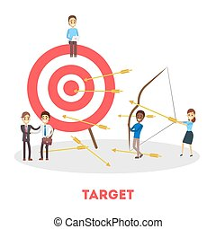 Business goal concept. Happy people standing at target