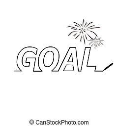 Business goal concept line text illustration
