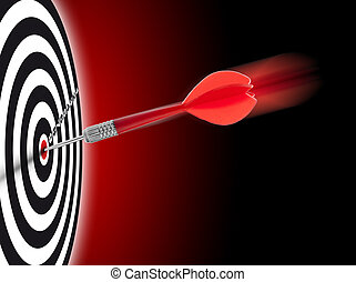business goal or objective - one dart hit it's target on a ...