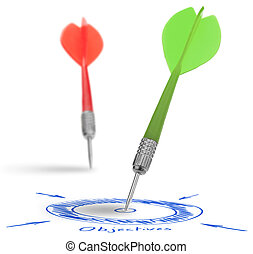 Business Goal or Personal Objective - two darts on a white...