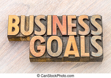 business goals word abstract in wood type