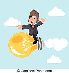 business gorilla flying on light bulb