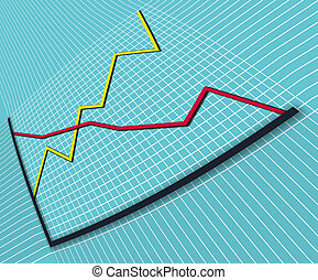 Business graph 1 distorted perspective - Business graph with...