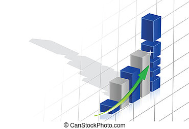 business graph 3d over grid