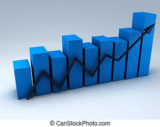 Business graph, 3d render