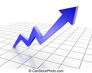 Business Graph, 3d rendered conceptual arrow chart on grid