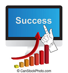 Business graph and computers, The concept Success