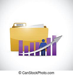 business graph and folder illustration design