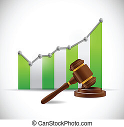 business graph and law hammer illustration design over a...