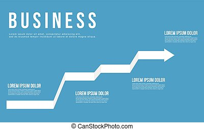 Business graph arrow design blue background