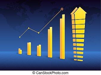 Business graph chart growth trending 2
