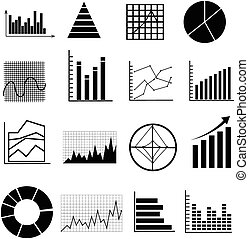 business graph chart icons set