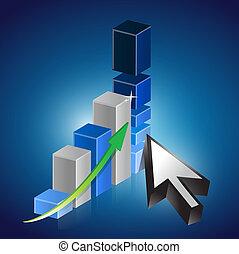 business graph cursor illustration design over a white ...