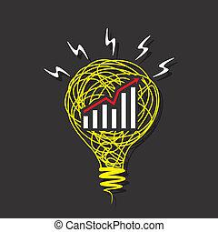 business graph design on bulb