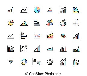 Business Graph Filled Outline Icon Set.