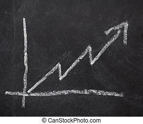business graph finance chalkboard - close up of stock market...