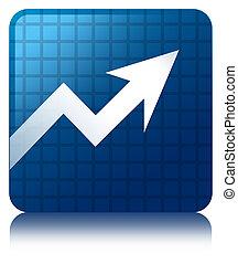 Business graph icon blue square button