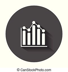 Business graph icon. Chart flat vector illustration with long shadow.