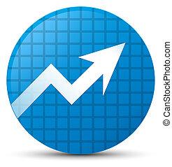 Business graph icon cyan blue round button