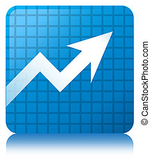 Business graph icon cyan blue square button
