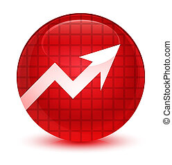 Business graph icon glassy red round button