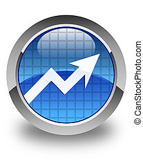 Business graph icon glossy blue round button