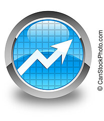 Business graph icon glossy cyan blue round button