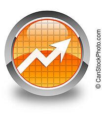 Business graph icon glossy orange round button
