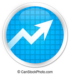 Business graph icon premium cyan blue round button