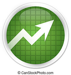 Business graph icon premium soft green round button