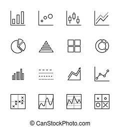 Business Graph icon set. Line icons
