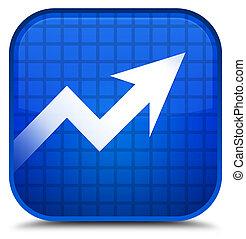Business graph icon special blue square button