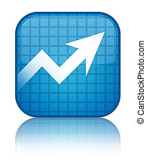 Business graph icon special cyan blue square button