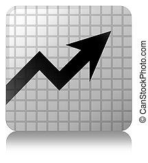 Business graph icon white square button