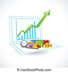 illustration of business graph with coin and clock