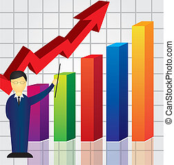 business graph - colorful business graph with businessman...