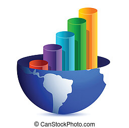 business graph inside a globe