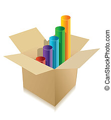 business graph inside cardboard box