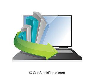 business graph laptop illustration design
