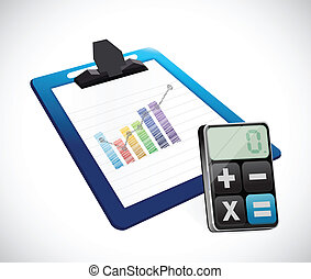 business graph on a clipboard and calculator